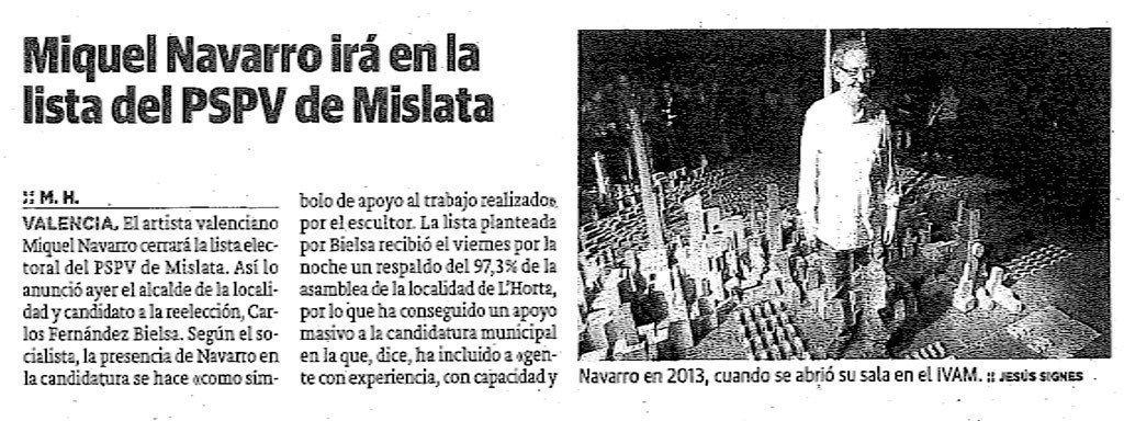 Recorte de prensa del diario Las Provincias.